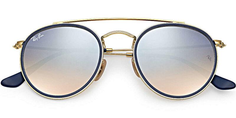 Compra gafas de sol RAY-BAN Round Double Bridge Oro Azul en la tienda online de gafas de sol Lunic Opticas Vigo