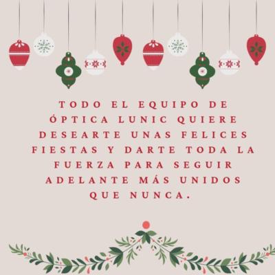 Optica Lunic os desea Felices Fiestas
