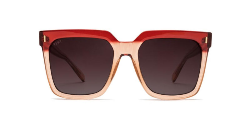 Gafas de sol para mujer TIWI Kelly bicolour Pink red with burgundy lenses (frontal abierto)