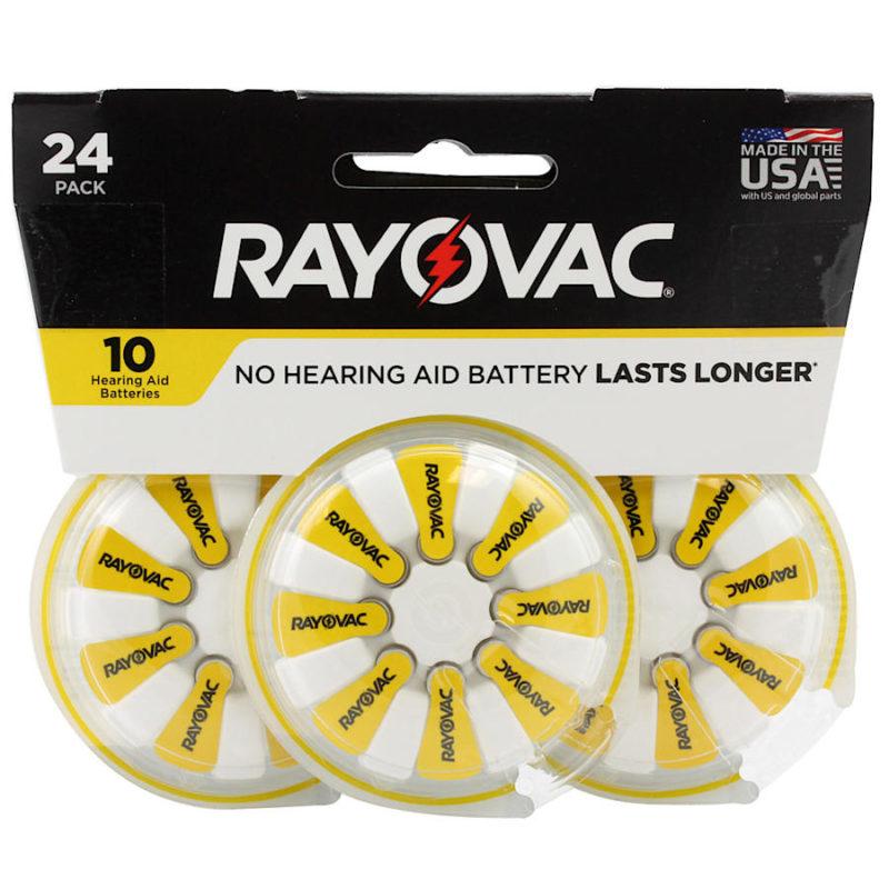 RAYOVAC Pack de 3 blister (24 unidades) de pilas para audífonos tamaño 10 color amarillo